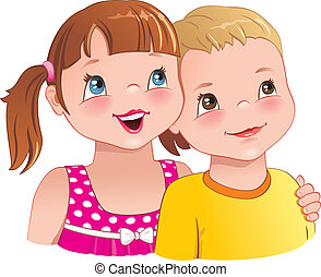 Girl hug a boy - cute kids smiling