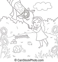 Girl hugging a giraffe. Vector illustration of hand-drawn. Coloring book for adults and children.