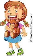 Girl hugging brown teddy bear