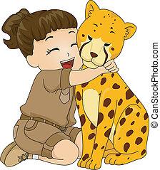 Girl Hugging Cheetah - Illustration of a Girl in a Safari...