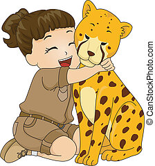 Illustration of a Girl in a Safari Outfit Hugging a Stuffed Cheetah Toy