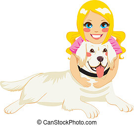 Girl Hugging Dog - Beautiful blonde little girl hugging...