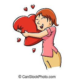 Girl hugging heart.