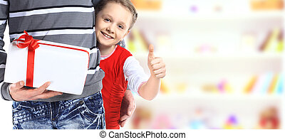 Girl hugging her father - isolated over a white background