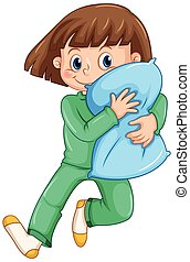 Girl hugging pillow at slumber party