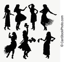 girl, hula, silhouettes, hawaien
