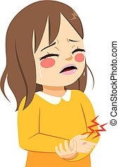 Girl Hurt Hand - Cute little sad girl crying in pain hurt...