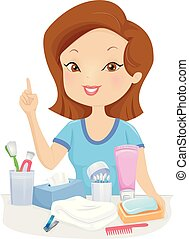 Girl Hygiene Products Illustration - Illustration of a...