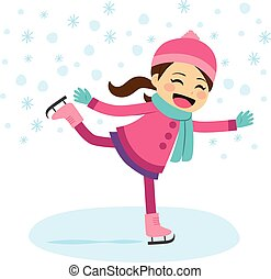 Girl Ice Skating - Cute little girl wearing warm winter...
