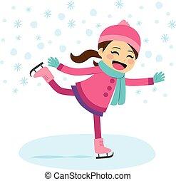Girl Ice Skating - Cute little girl wearing warm winter...