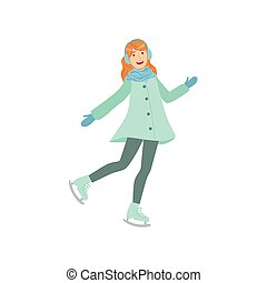Girl Ice Skating Winter Sports Illustration