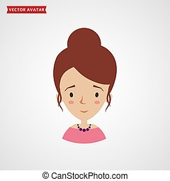 Girl icon. Vector avatar.