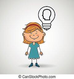 girl, idée, engrenages, icône