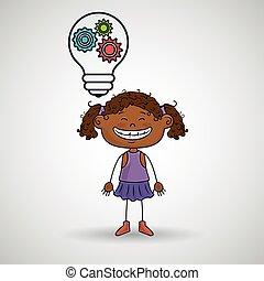 girl idea gears icon