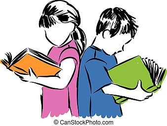 girl, illustration, lecture garçon, enfants, livres