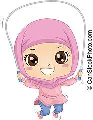 girl, illustration, musulman, gosse, corde, sauter