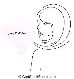 girl, illustration, profil, vecteur, lips., rose