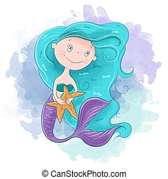 girl., ilustracja, syrena, wektor, sprytny, rysunek