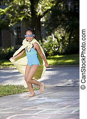 girl, imaginaire, superhero, déguisement, fait maison