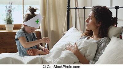 girl, imaginer, chapeau, injection, patient., monde médical...