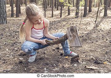 girl imitates what cuts a stump