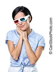 Girl in 3D glasses