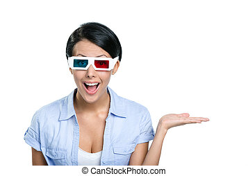 Girl in 3D glasses with the palm up