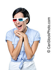 Girl in 3D spectacles
