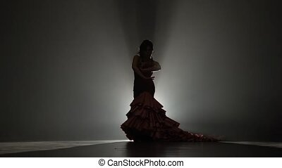 Girl in a beautiful dress is dancing . Light from behind. Smoke background. Slow motion. Silhouette
