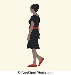 Girl in a black dress, flat style