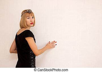 girl in a black dress