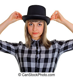 Girl in a black silk hat, isolated on white