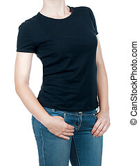 girl in a black T-shirt and jeans o