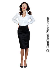 girl in a blouse and skirt on a white background