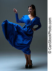 girl in a blue evening dress