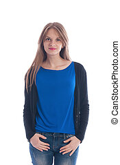 Girl in a blue t-shirt and jeans on a white background.