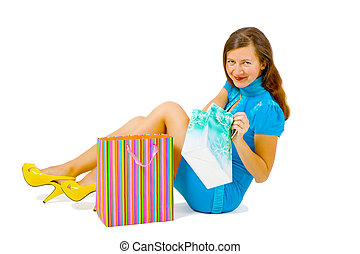 girl in a bright dress with shopping