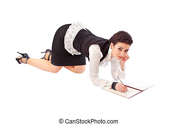 Girl in a business suit with a fold