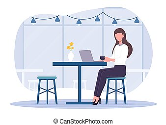 Girl in a cafe working on laptop