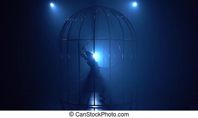 Girl in a cage stunts on a hoop in a dark room. Blue smoke...