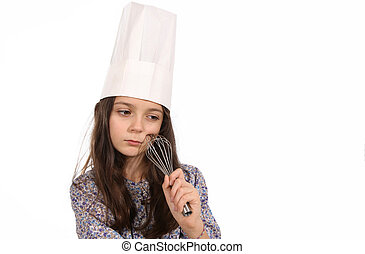 Girl in a chef's hat