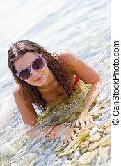 girl in a clear sea
