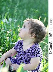 Girl  in a dandelion field