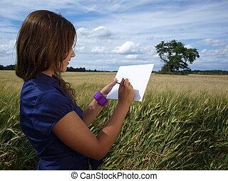 girl in a field drawing
