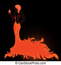 Girl in a fiery dress vector illustration