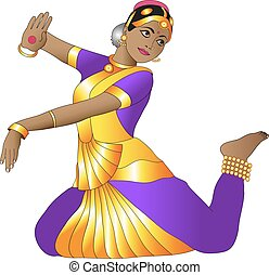 Indian dance - girl in a graceful pose Indian dance on a...