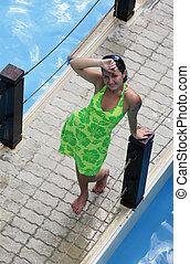 Girl in a green dress