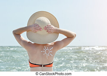Girl in a hat by the sea. Back view. Picture of the sun on the back