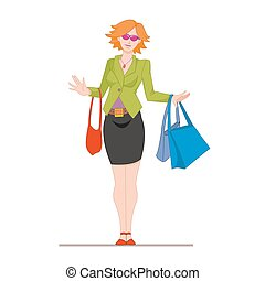 Girl in a hat with bags in hands after shopping. Cartoon female character isolated on white background. Vector, illustration EPS10.