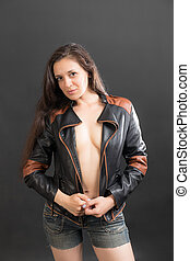 girl in a jacket and shorts